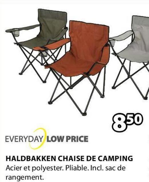850 EVERYDAY LOW PRICE HALDBAKKEN CHAISE DE CAMPING Acier et polyester. Pliable. Incl. sac de rangement.