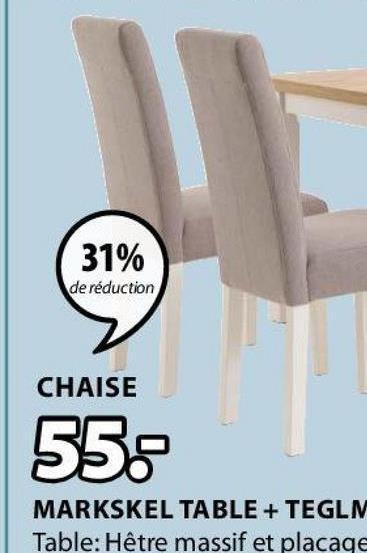 31% de réduction CHAISE 55 MARKSKEL TABLE + TEGLN Table: Hêtre massif et placage