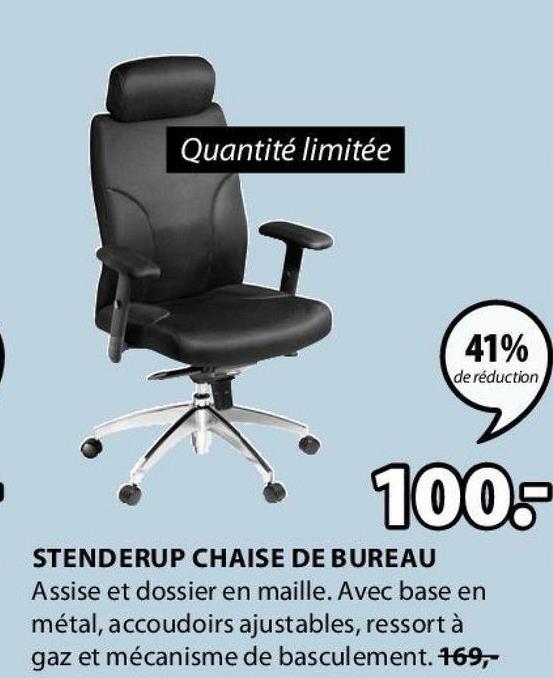 Quantité limitée 41% de réduction 100 STENDERUP CHAISE DE BUREAU Assise et dossier en maille. Avec base en métal, accoudoirs ajustables, ressort à gaz et mécanisme de basculement. 169,-