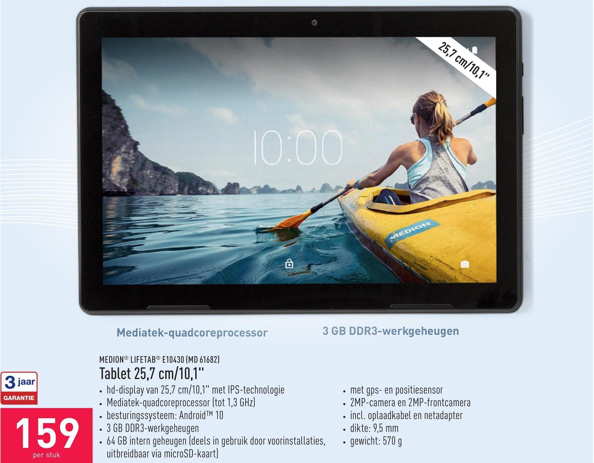 """Tablet 25,7 cm/10,1"""" hd-display van 25,7 cm/10,1"""" met IPS-technologieMediatek-quadcoreprocessor (tot 1,3 GHz)besturingssysteem: Android™ 103 GB DDR3-werkgeheugen64 GB intern geheugen (deels in gebruik door voorinstallaties, uitbreidbaar via microSD-kaart)met gps- en positiesensor2MP-camera en 2MP-frontcameraincl. oplaadkabel en netadapterdikte: 9,5 mmgewicht: 570 g"""