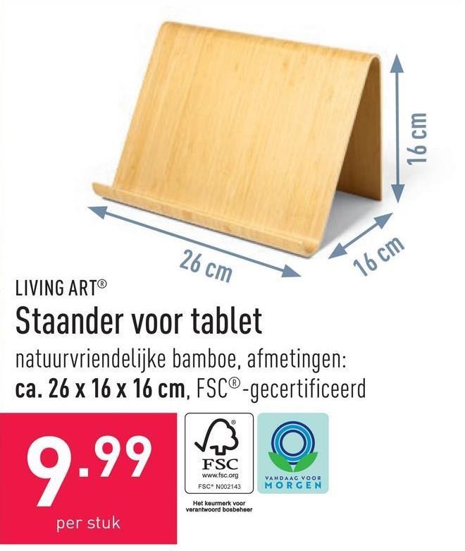 Staander voor tablet natuurvriendelijke bamboe, afmetingen: ca. 26 x 16 x 16 cm, FSC®-gecertificeerd