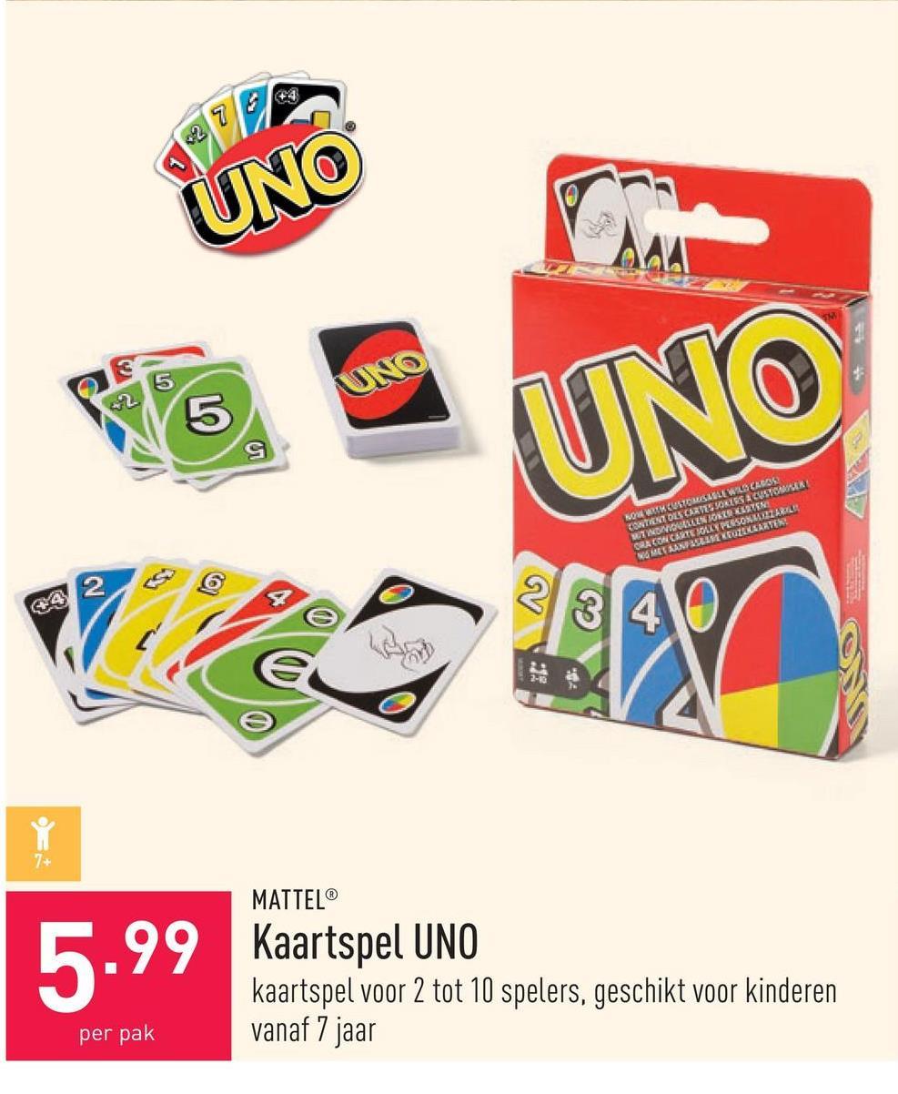 Kaartspel UNO kaartspel voor 2 tot 10 spelers, geschikt voor kinderen vanaf 7 jaar
