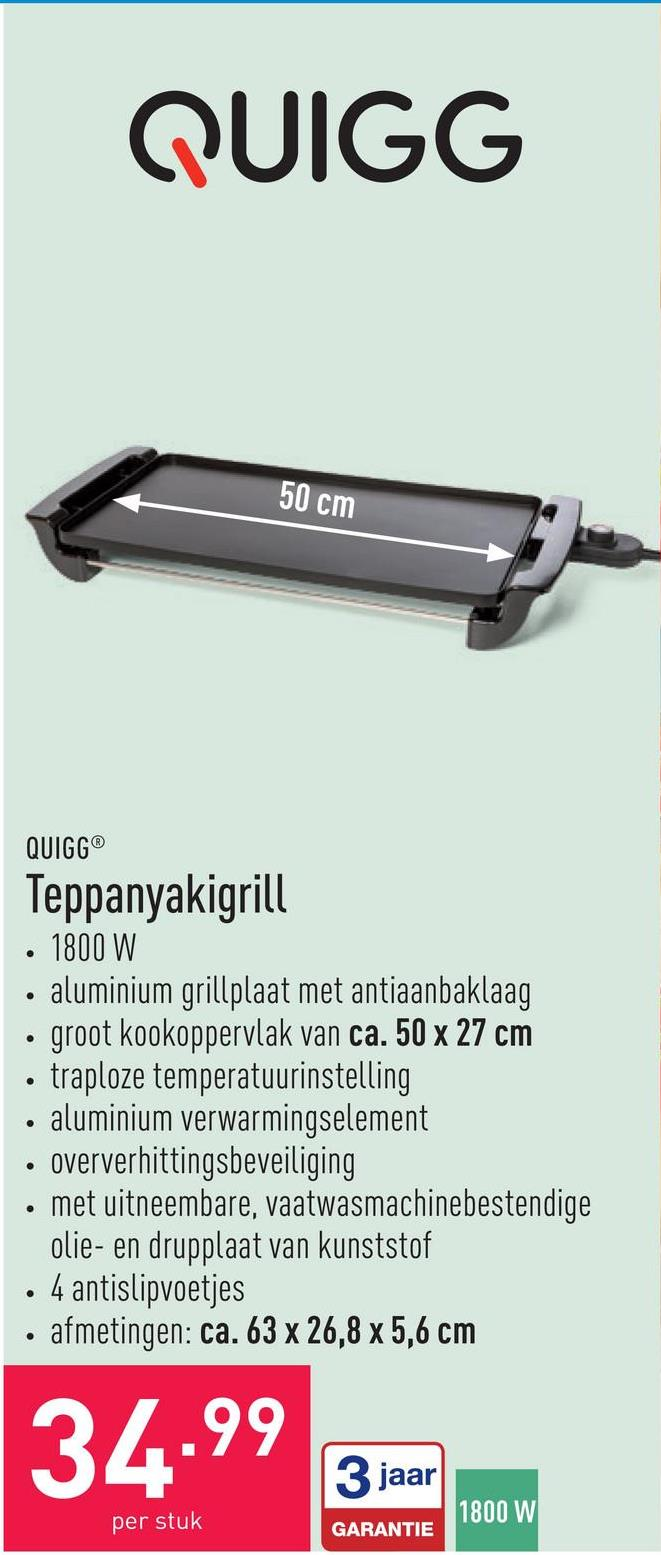 Teppanyakigrill 1800 Waluminium grillplaat met antiaanbaklaaggroot kookoppervlak van ca. 50 x 27 cmtraploze temperatuurinstellingaluminium verwarmingselementoververhittingsbeveiligingmet uitneembare, vaatwasmachinebestendige olie- en drupplaat van kunststof4 antislipvoetjesafmetingen: ca. 63 x 26,8 x 5,6 cm