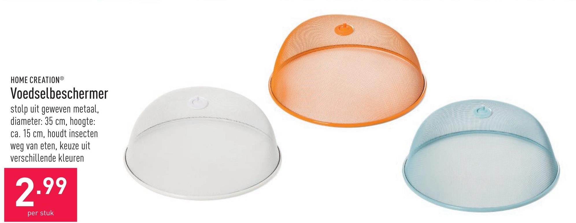 Voedselbeschermer stolp uit geweven metaal, diameter: 35 cm, hoogte: ca. 15 cm, houdt insecten weg van eten, keuze uit verschillende kleuren