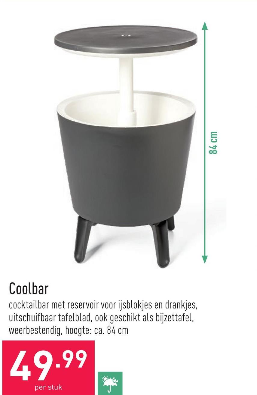 Coolbar cocktailbar met reservoir voor ijsblokjes en drankjes, uitschuifbaar tafelblad, ook geschikt als bijzettafel, weerbestendig, hoogte: ca. 84 cm