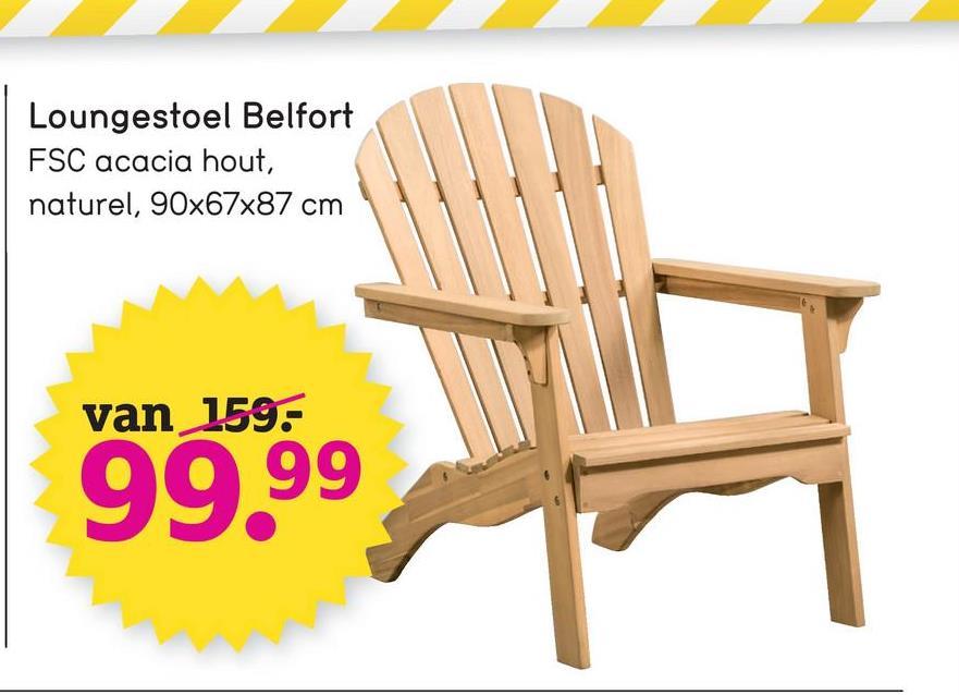 Loungestoel Belfort FSC acacia hout, naturel, 90x67x87 cm van 159: 99,99