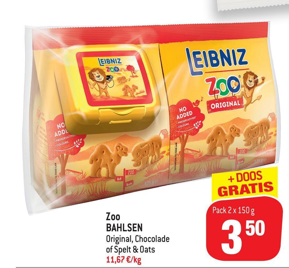 "LEIBNIZ 200  EIBNIZ ZOOC ORIGINAL NO ADDED • PRESERVATIVES COLOURS NO ADDL PRESERVATIVE COLOURS 200 MY GOOI OLONGSODON. ZOO ""ACCOROTHO TO FOOD LAW 125g + DOOS GRATIS Pack 2 x 150 g 50 Zoo BAHLSEN Original, Chocolade of Spelt & Oats 11,67 €/kg"
