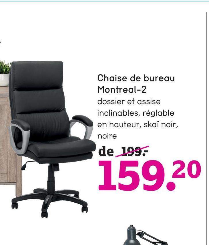 Chaise de bureau Montreal-2 dossier et assise inclinables, réglable en hauteur, skaï noir, noire de 199: 159,20