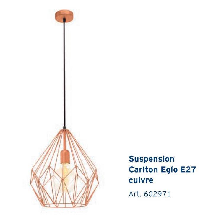 Suspension Carlton Eglo E27 cuivre Art. 602971