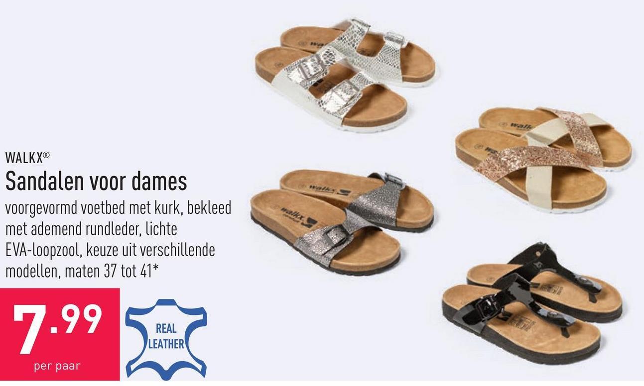Sandalen voor dames voorgevormd voetbed met kurk, bekleed met ademend rundleder, lichte EVA-loopzool, keuze uit verschillende modellen, maten 37 tot 41*