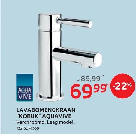 AquaVive wastafelmengkraan Kobuk chroom De chromen wastafelmengkraan Kobuk van AquaVive past in iedere badkamer. De kraan is gemaakt van koper en heeft een lage uitloop.