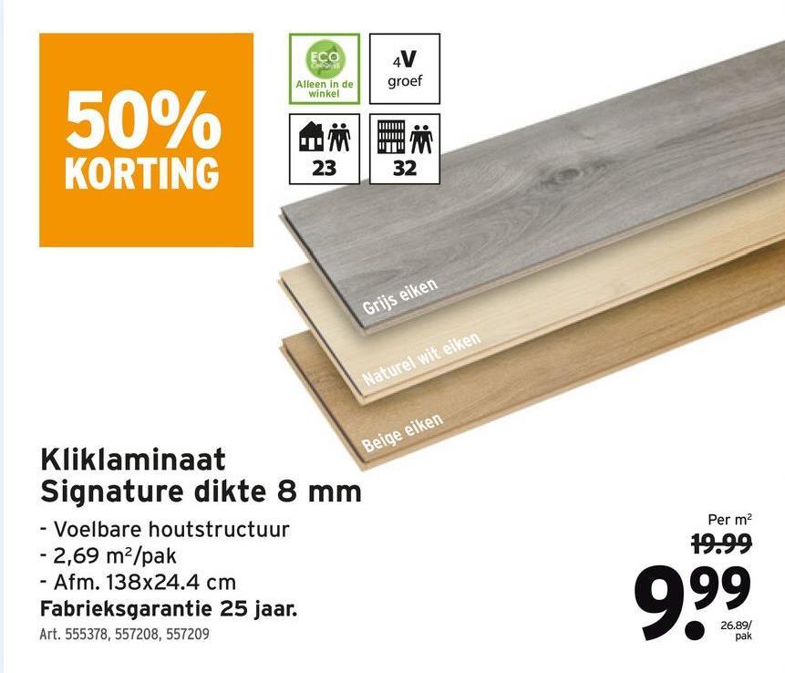 Laminaat extra breed 8 mm 4 V-groef naturel wit eiken 2,69 m² Het extra brede laminaat (XXB) van GAMMA is makkelijk om te leggen, makkelijk om te onderhouden én makkelijk om van te houden, want verkrijgbaar in verschillende fijne tinten zoals witte eik. Het laminaat heeft een voelbare houtstructuur en is geschikt voor vloerverwarming door middel van water. Tip: leg zwevend met klikverbinding. Klik, klik, klaar!