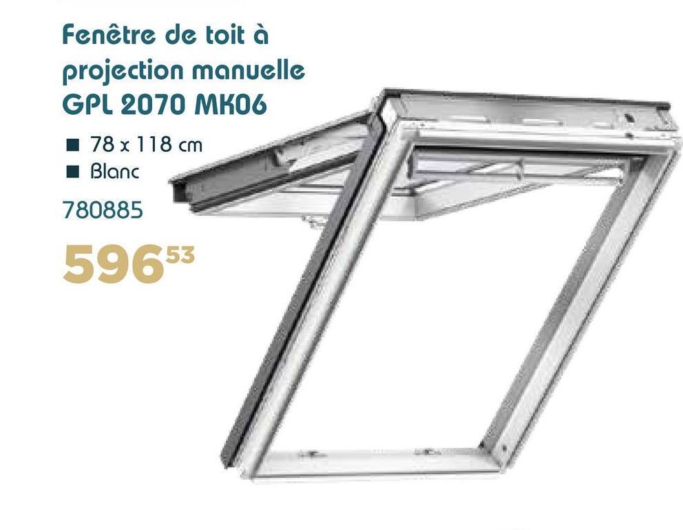 Fenêtre de toit à projection manuelle GPL 2070 MK06 78 x 118 cm Blanc 780885 59653