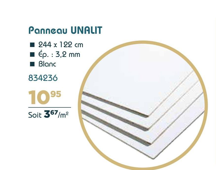 Panneau UNALIT 1244 x 122 cm ép. : 3,2 mm Blanc 834236 1095 Soit 367/m2