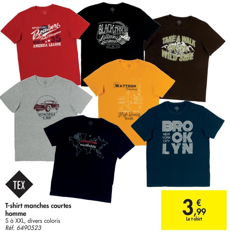 SPORTING BLACKTAK Bongers Remersheim ORIES AMERICA LEAGUE WATTSON VINTAGE CAR High Quality Gocos BRO NEW YORK AVCI worthwhile OK ILYN TEX u T-shirt manches courtes homme S à XXL, divers coloris Réf. 6490523 € ,99 3,99 Le t-shirt