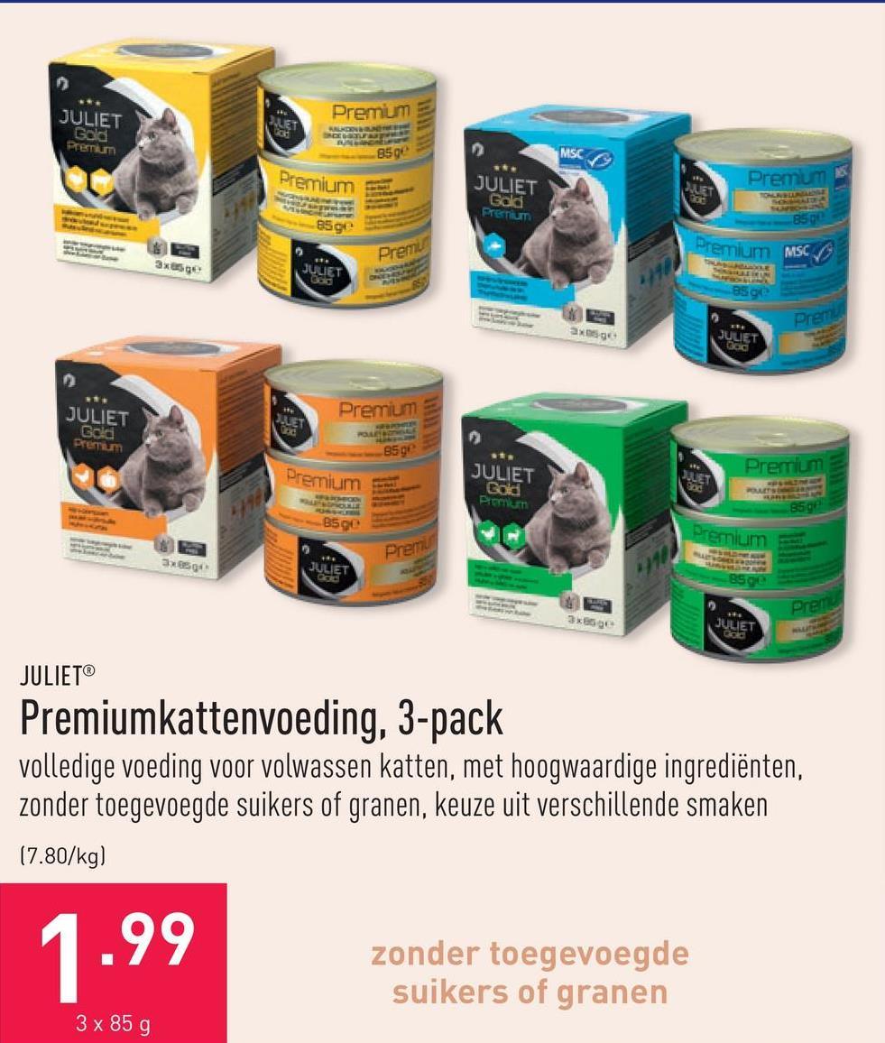 Premiumkattenvoeding, 3-pack volledige voeding voor volwassen katten, met hoogwaardige ingrediënten, zonder toegevoegde suikers of granen, keuze uit verschillende smaken