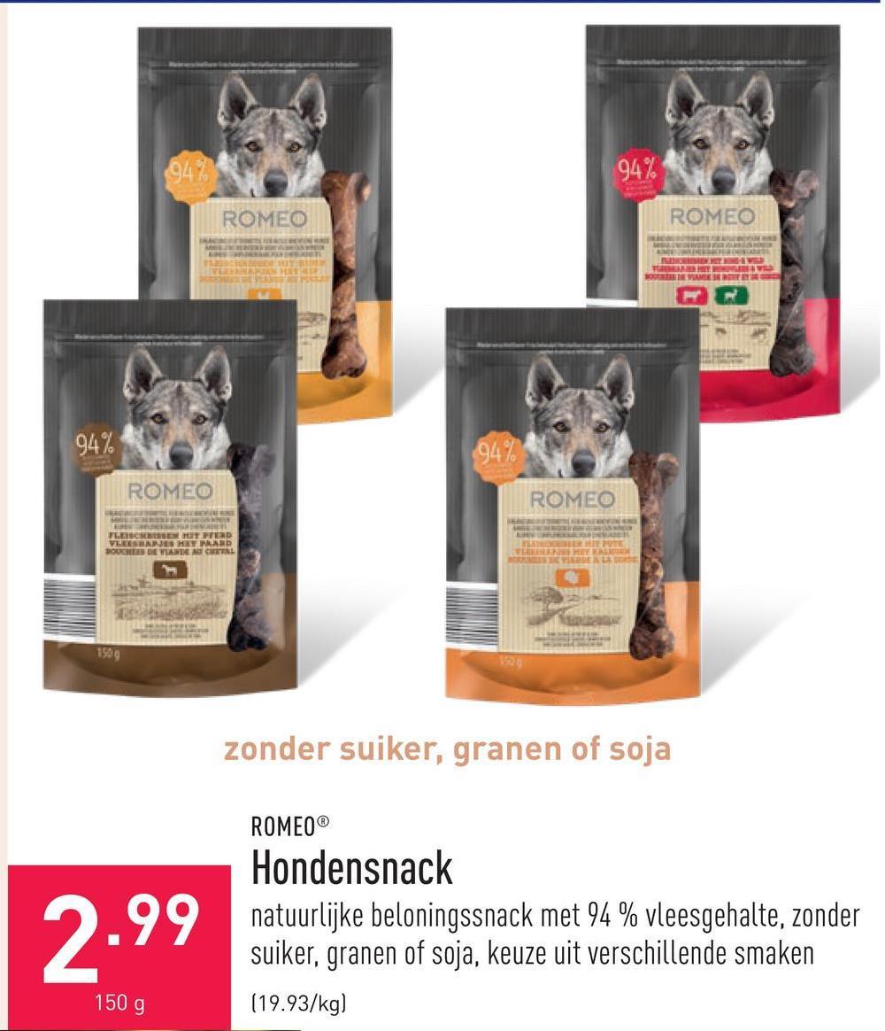Hondensnack natuurlijke beloningssnack met 94 % vleesgehalte, zonder suiker, granen of soja, keuze uit verschillende smaken