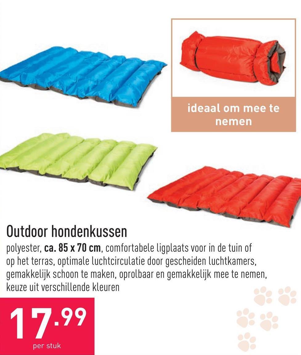 Outdoor hondenkussen polyester, ca. 85 x 70 cm, comfortabele ligplaats voor in de tuin of op het terras, optimale luchtcirculatie door gescheiden luchtkamers, gemakkelijk schoon te maken, oprolbaar en gemakkelijk mee te nemen, keuze uit verschillende kleuren