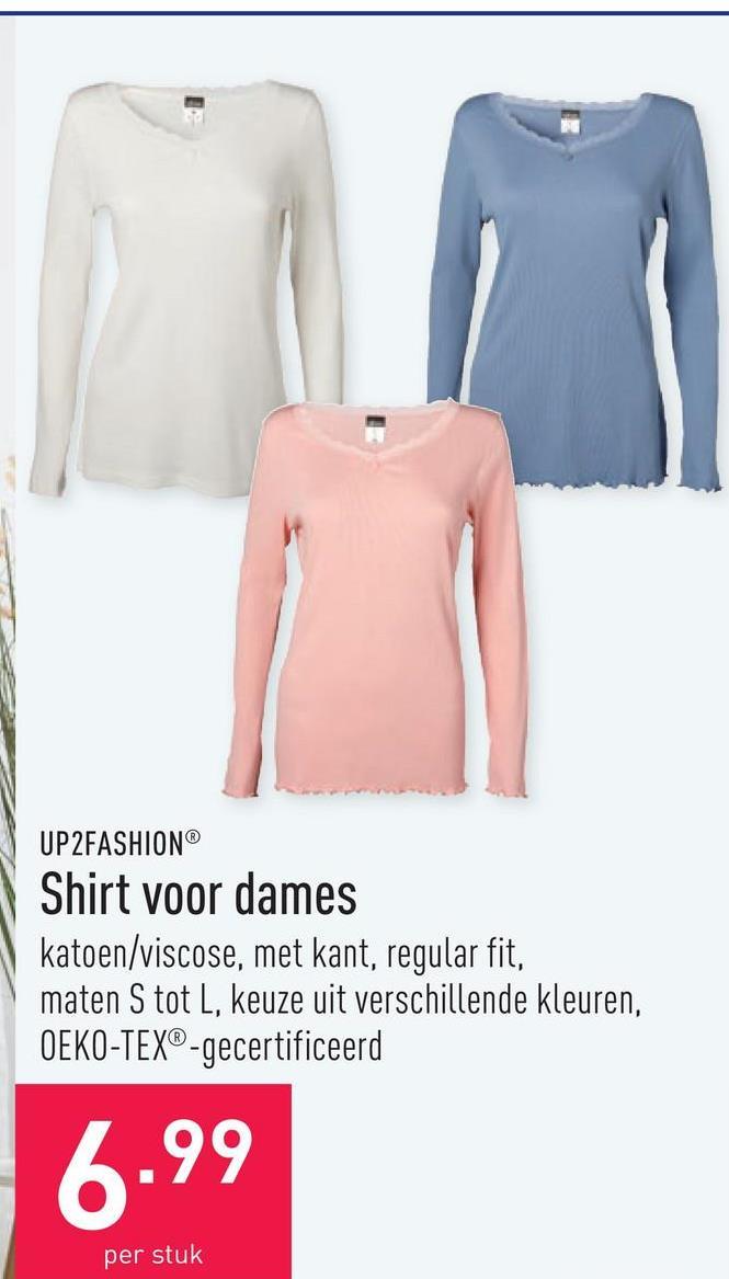 Shirt voor dames katoen/viscose, met kant, regular fit, maten S tot L, keuze uit verschillende kleuren, OEKO-TEX®-gecertificeerd