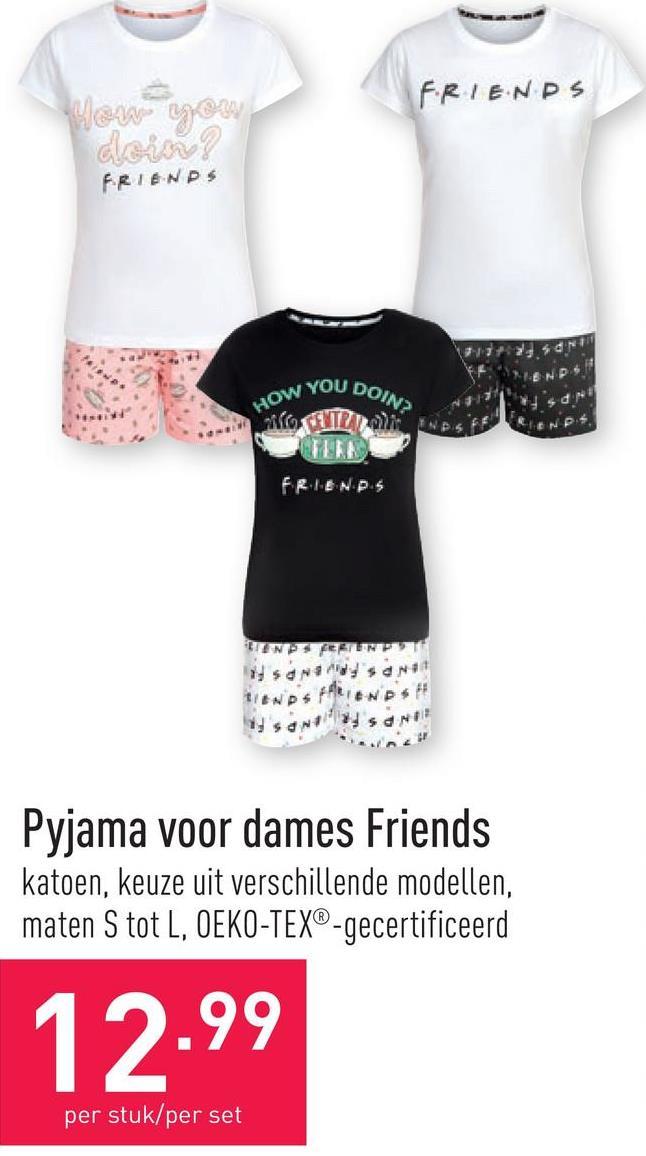 Pyjama voor dames Friends katoen, keuze uit verschillende modellen, maten S tot L, OEKO-TEX®-gecertificeerd