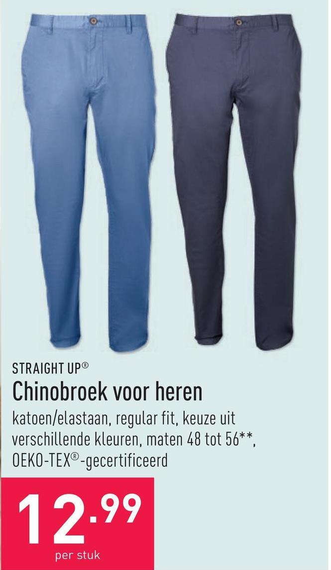 Chinobroek voor heren katoen/elastaan, hoog draagcomfort, keuze uit 3 modellen, maten 48 tot 54