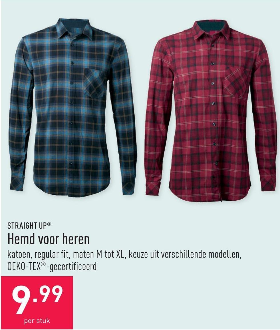 Hemd voor heren katoen, regular fit, maten M tot XL, keuze uit verschillende modellen, OEKO-TEX®-gecertificeerd
