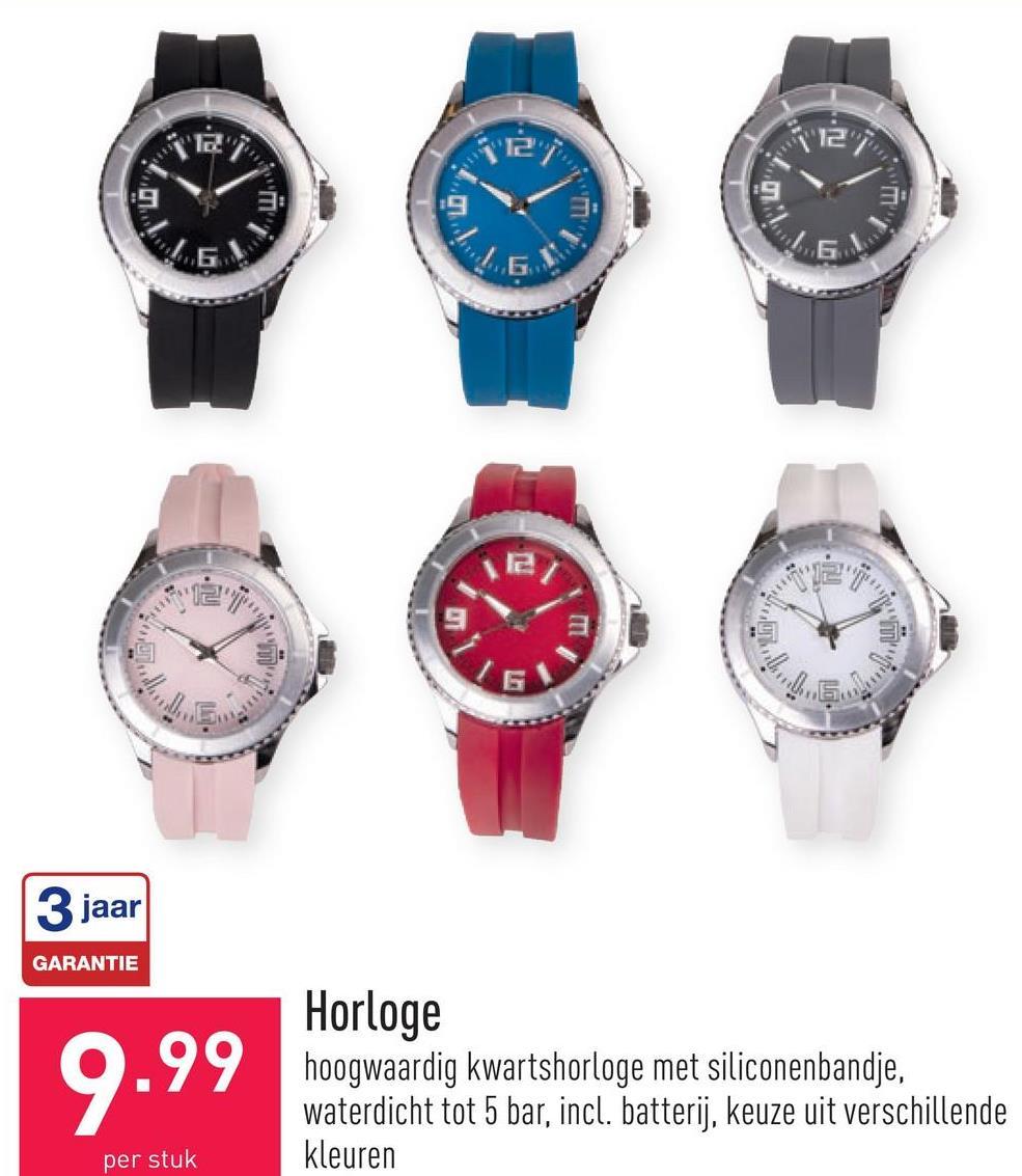 Horloge hoogwaardig kwartshorloge met siliconenbandje, waterdicht tot 5 bar, incl. batterij, keuze uit verschillende kleuren