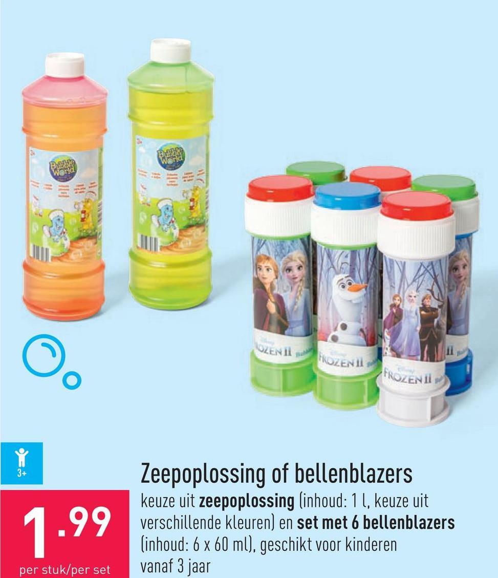 Zeepoplossing of bellenblazers keuze uit zeepoplossing (inhoud: 1 l, keuze uit verschillende kleuren) en set met 6 bellenblazers (inhoud: 6 x 60 ml), geschikt voor kinderen vanaf 3 jaar