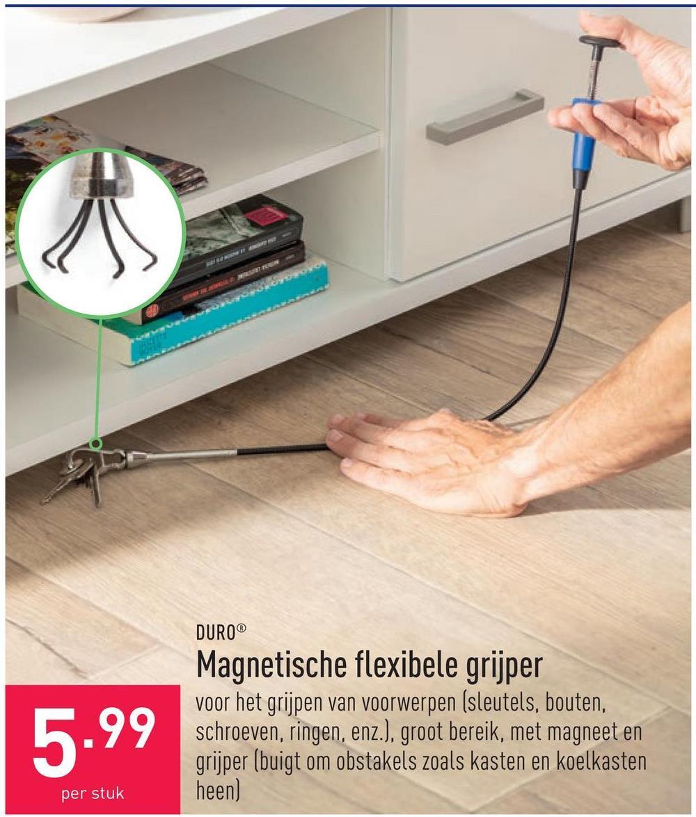 Magnetische flexibele grijper voor het grijpen van voorwerpen (sleutels, bouten, schroeven, ringen, enz.), groot bereik, met magneet en grijper (buigt om obstakels zoals kasten en koelkasten heen)