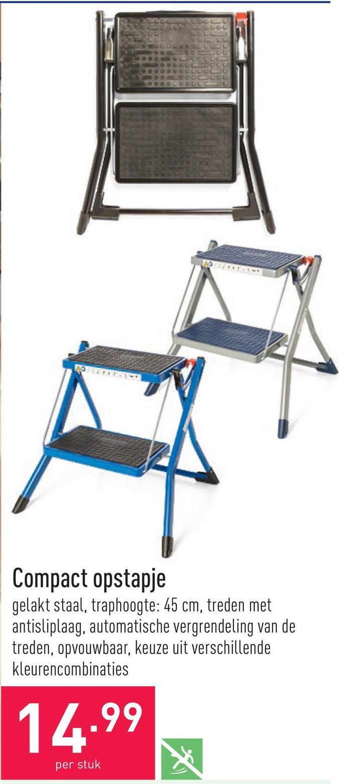 Compact opstapje gelakt staal, traphoogte: 45 cm, treden met antisliplaag, automatische vergrendeling van de treden, opvouwbaar, keuze uit verschillende kleurencombinaties