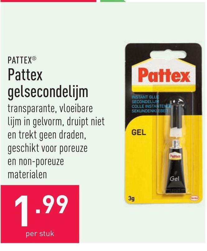 Pattex gelsecondelijm transparante, vloeibare lijm in gelvorm, druipt niet en trekt geen draden, geschikt voor poreuze en non-poreuze materialen