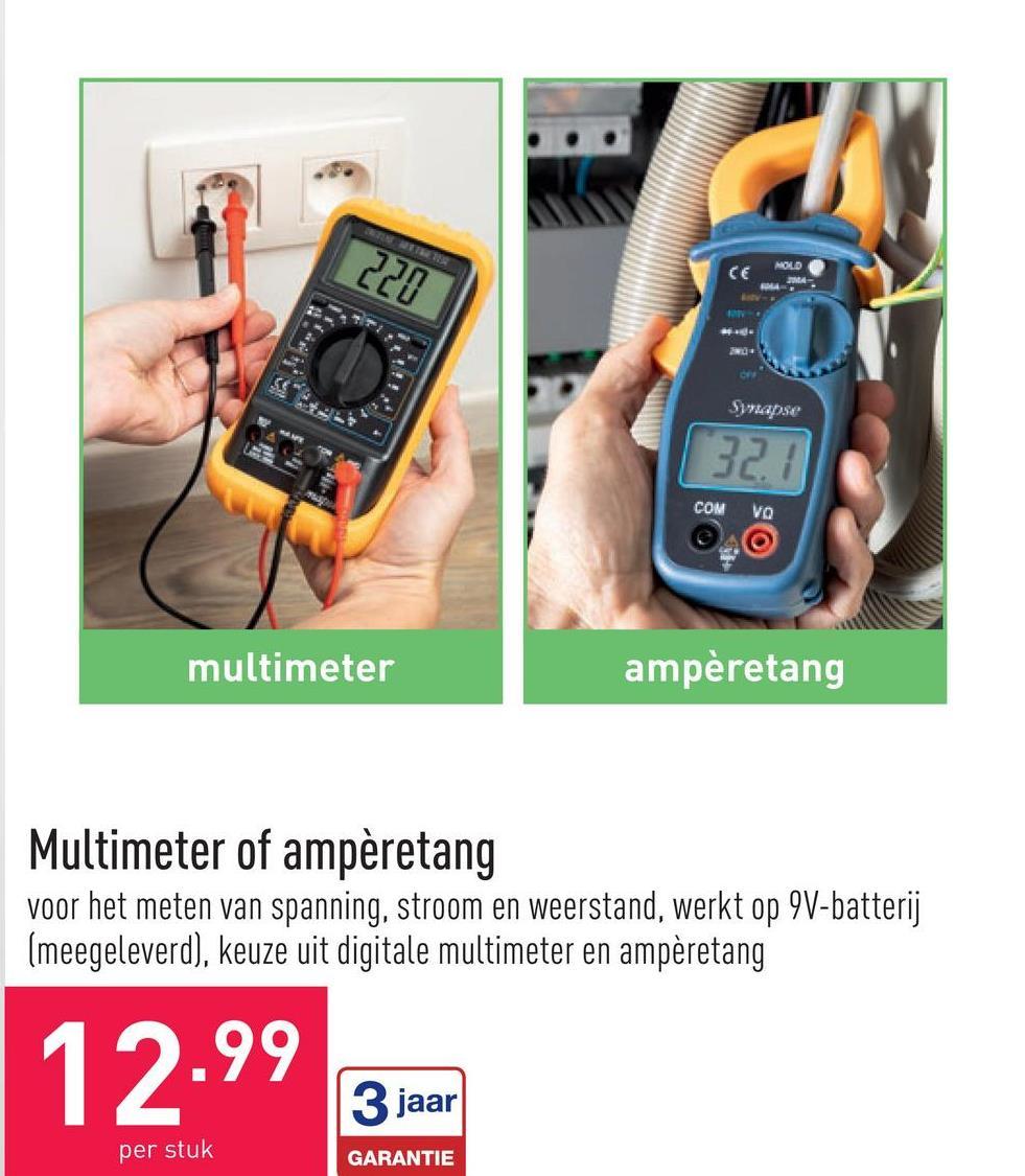 Multimeter of ampèretang voor het meten van spanning, stroom en weerstand, werkt op 9V-batterij (meegeleverd), keuze uit digitale multimeter en ampèretang
