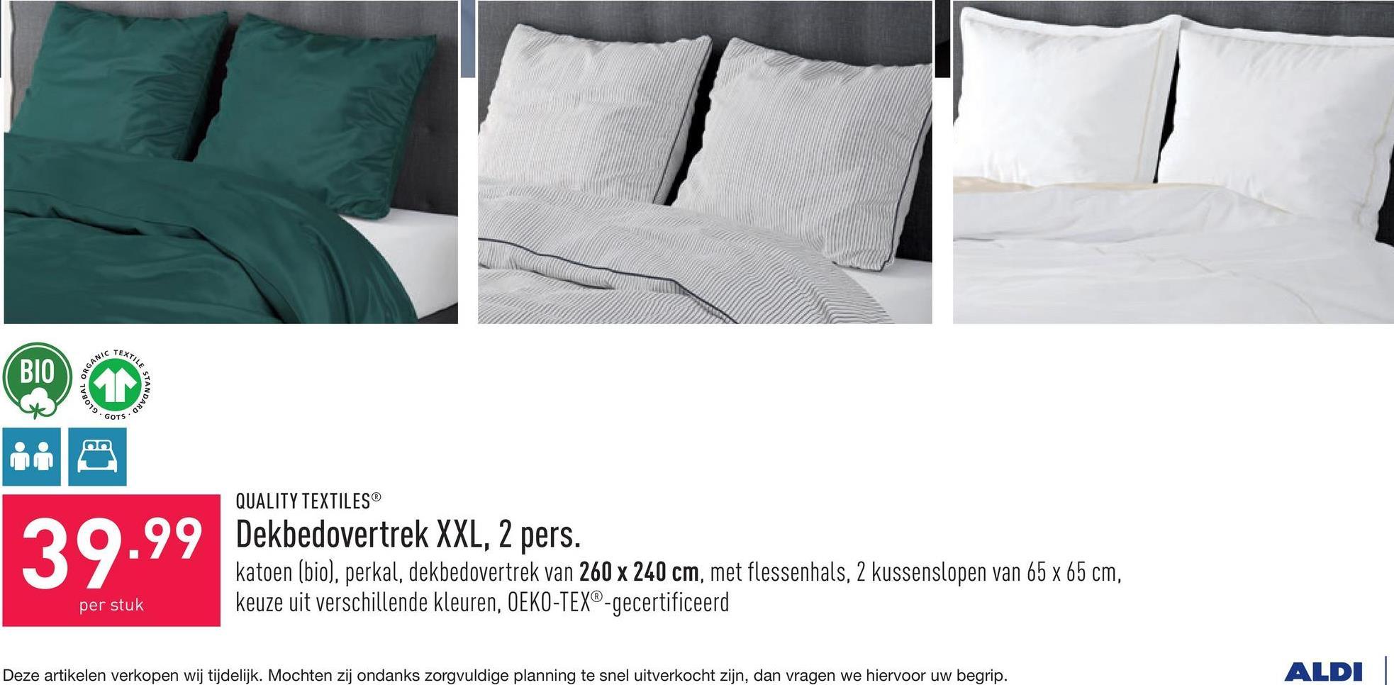 Dekbedovertrek XXL, 2 pers. katoen (bio), perkal, dekbedovertrek van 260 x 240 cm, met flessenhals, 2 kussenslopen van 65 x 65 cm, keuze uit verschillende kleuren, OEKO-TEX®-gecertificeerd