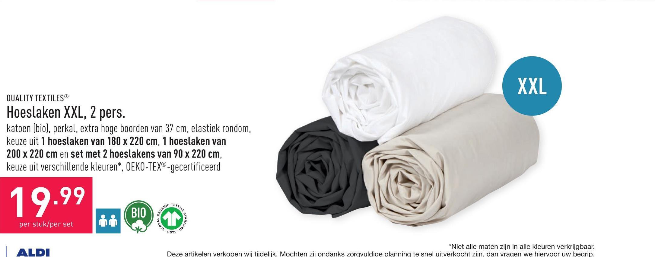Hoeslaken XXL, 2 pers. katoen (bio), perkal, extra hoge boorden van 37 cm, elastiek rondom, keuze uit 1 hoeslaken van 180 x 220 cm, 1 hoeslaken van 200 x 220 cm en set met 2 hoeslakens van 90 x 220 cm, keuze uit verschillende kleuren*, OEKO-TEX®-gecertificeerd