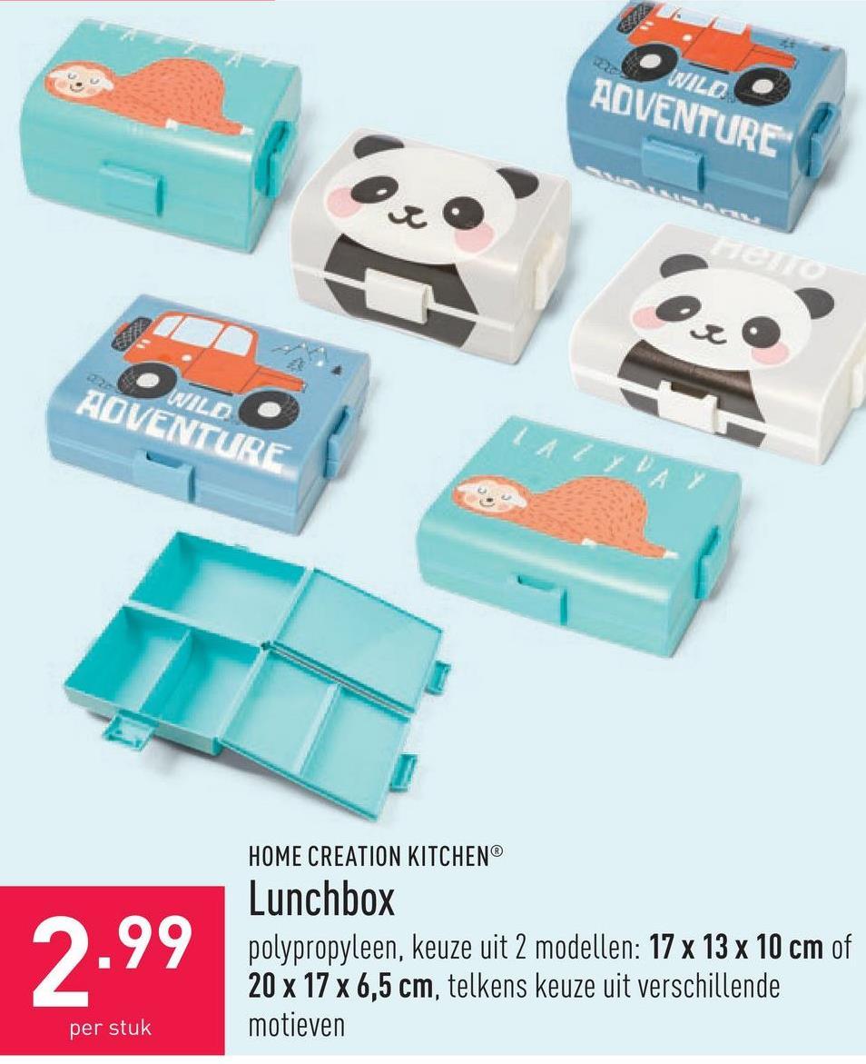 Lunchbox polypropyleen, keuze uit 2 modellen: 17 x 13 x 10 cm of 20 x 17 x 6,5 cm, telkens keuze uit verschillende motieven