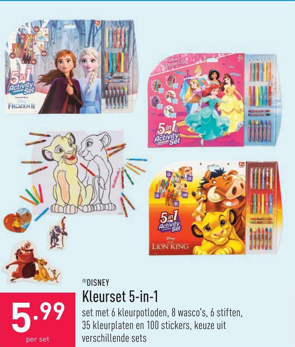 Kleurset 5-in-1 set met 6 kleurpotloden, 8 wasco's, 6 stiften, 35 kleurplaten en 100 stickers, keuze uit verschillende sets