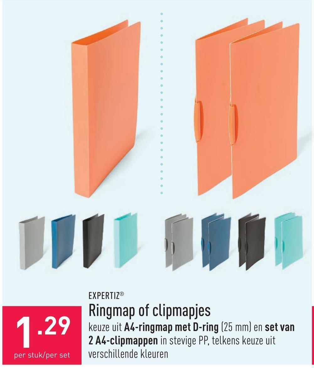 Ringmap of clipmapjes keuze uit A4-ringmap met D-ring (25 mm) en set van 2 A4-clipmappen in stevige PP, telkens keuze uit verschillende kleuren