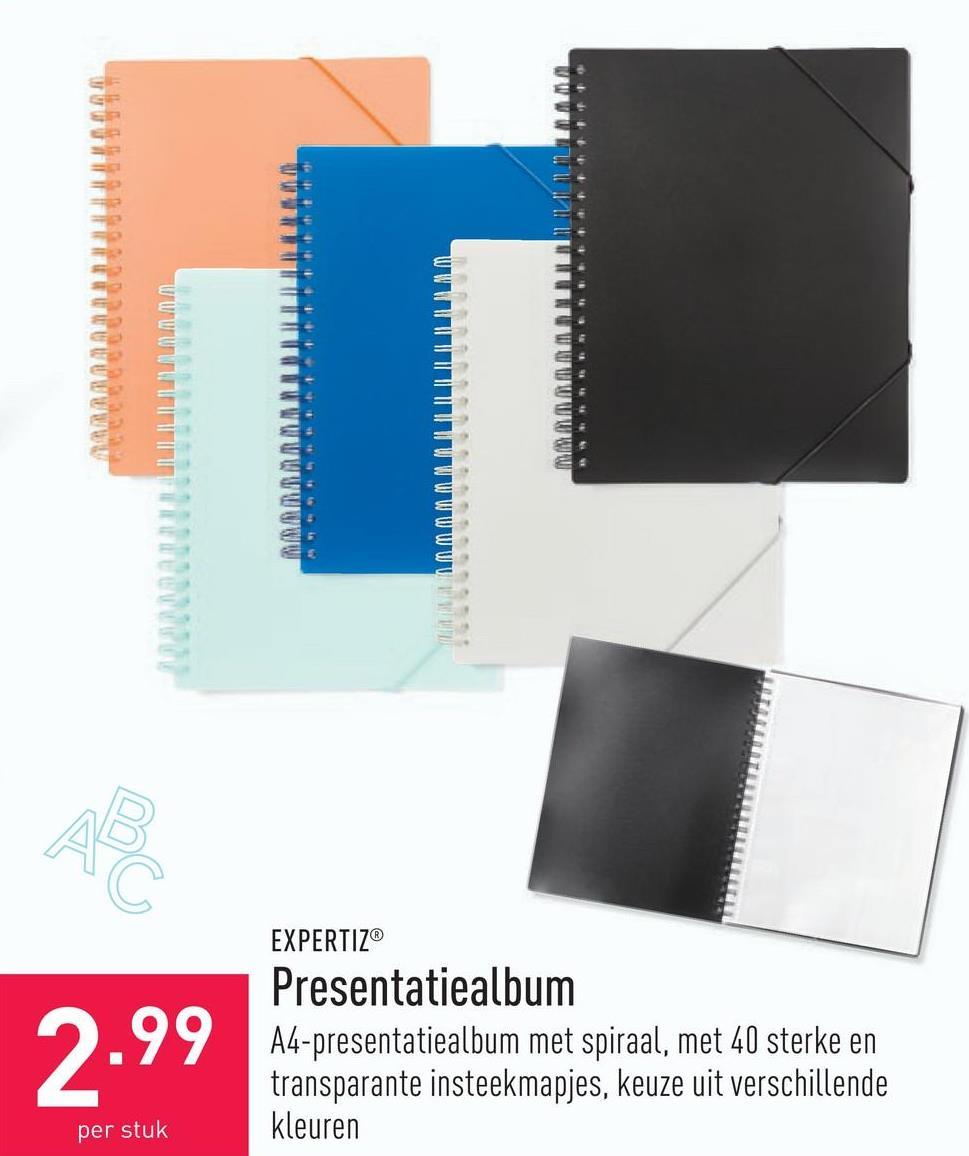 Presentatiealbum A4-presentatiealbum met spiraal, met 40 sterke en transparante insteekmapjes, keuze uit verschillende kleuren