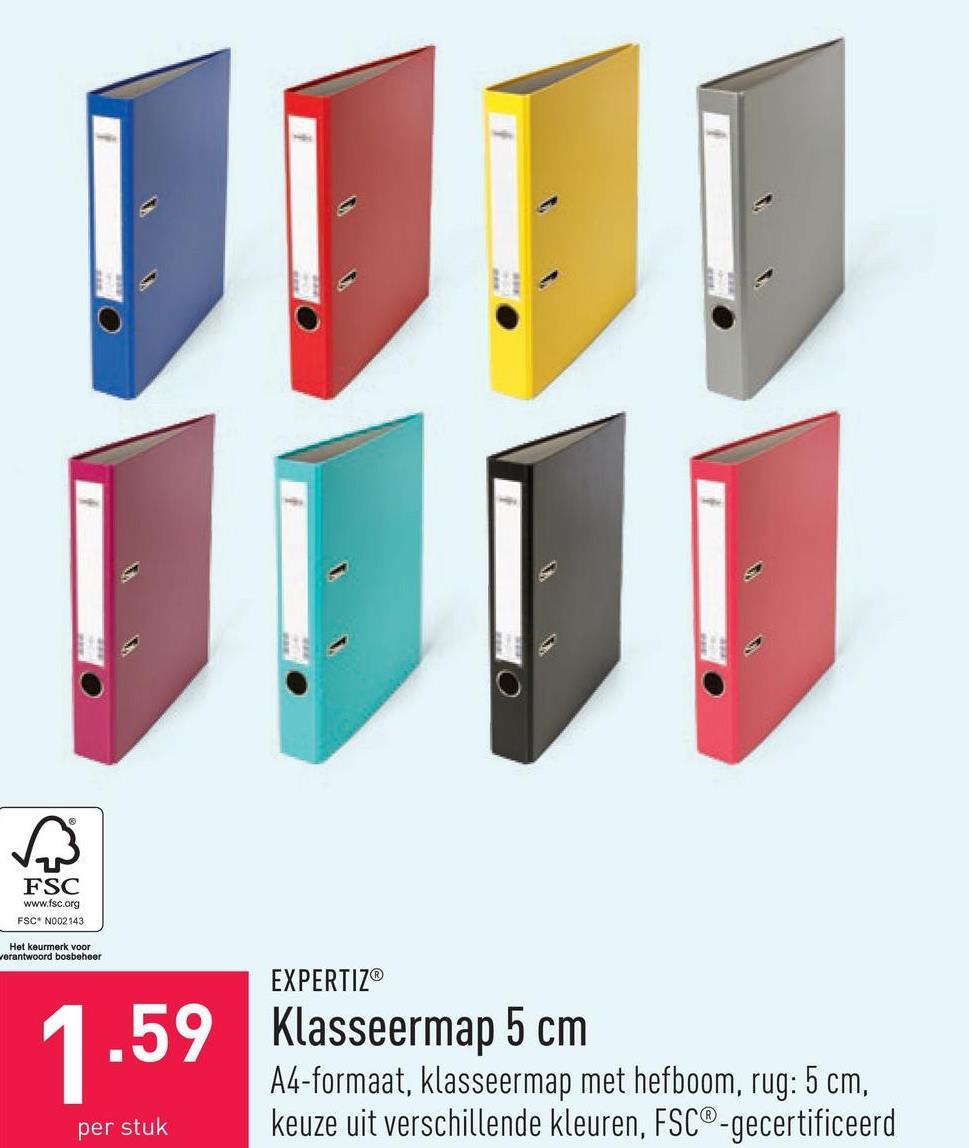 Klasseermap 5 cm A4-formaat, klasseermap met hefboom, rug: 5 cm, keuze uit verschillende kleuren, FSC®-gecertificeerd