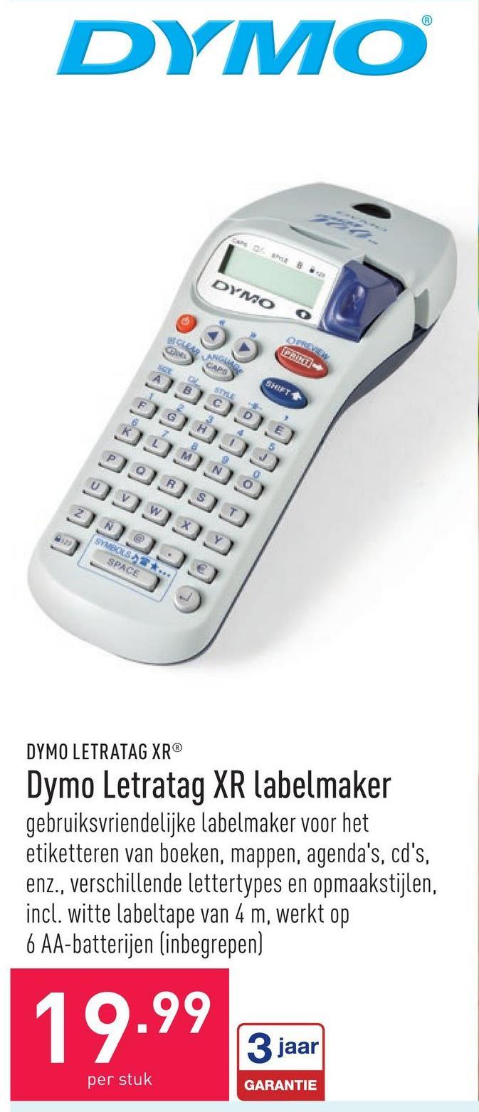 Dymo Letratag XR labelmaker gebruiksvriendelijke labelmaker voor het etiketteren van boeken, mappen, agenda's, cd's, enz., verschillende lettertypes en opmaakstijlen, incl. witte labeltape van 4 m, werkt op 6 AA-batterijen (inbegrepen)