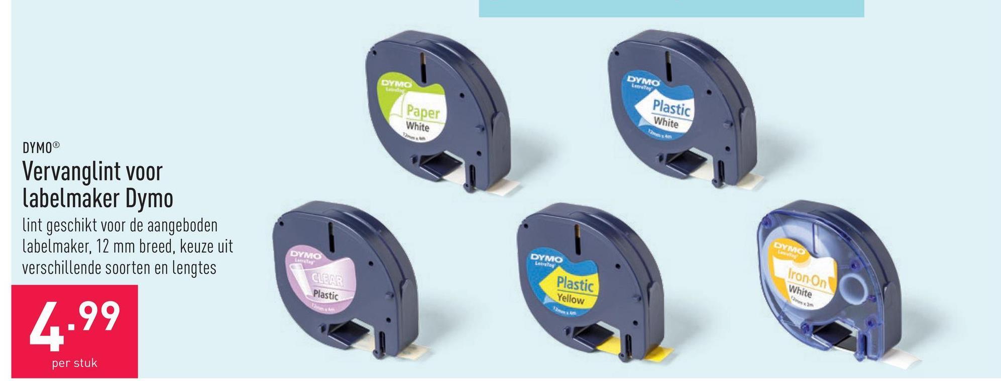 Vervanglint voor labelmaker Dymo lint geschikt voor de aangeboden labelmaker, 12 mm breed, keuze uit verschillende soorten en lengtes