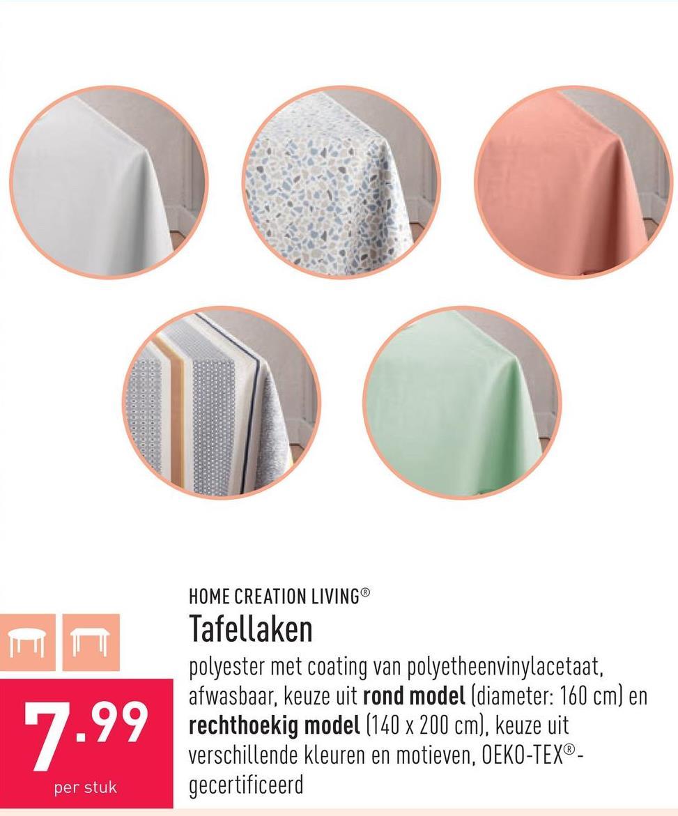 Tafellaken polyester met coating van polyetheenvinylacetaat, afwasbaar, keuze uit rond model (diameter: 160 cm) en rechthoekig model (140 x 200 cm), keuze uit verschillende kleuren en motieven, OEKO-TEX®-gecertificeerd