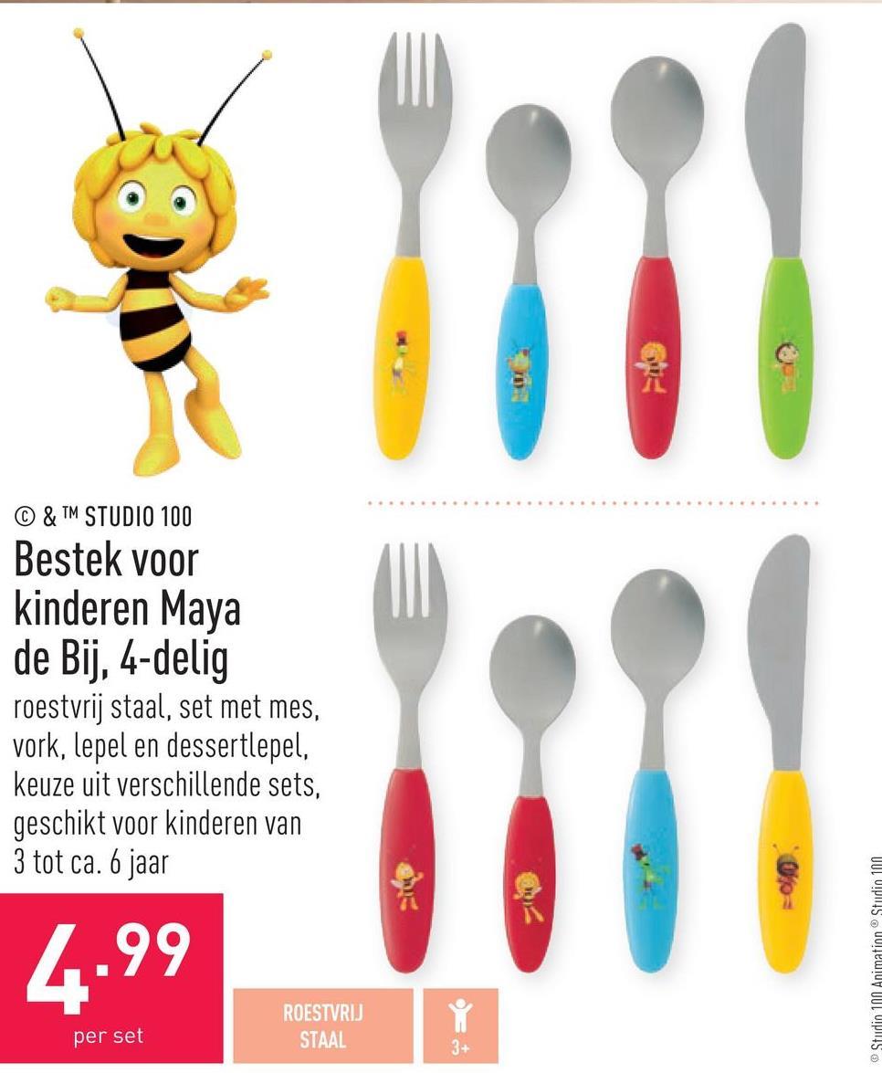 Bestek voor kinderen Maya de Bij, 4-delig roestvrij staal, set met mes, vork, lepel en dessertlepel, keuze uit verschillende sets, geschikt voor kinderen van 3 tot ca. 6 jaar