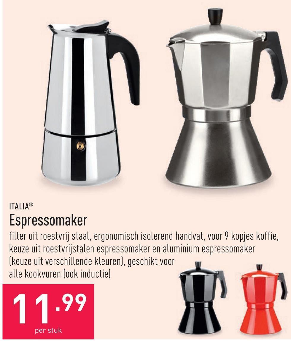 Espressomaker filter uit roestvrij staal, ergonomisch isolerend handvat, voor 9 kopjes koffie, keuze uit roestvrijstalen espressomaker en aluminium espressomaker (keuze uit verschillende kleuren), geschikt voor alle kookvuren (ook inductie)