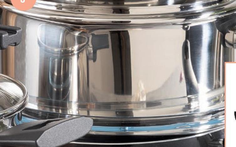 Kookpot 24 cm roestvrij staal, diameter: 24 cm, maataanduiding in de pot, opening om af te gieten met gesloten deksel, deksel kan in de handgreep gestoken worden, geschikt voor alle vuren (ook inductie), vaatwasmachinebestendig