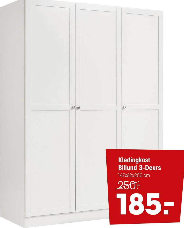 Kledingkast Billund Wit Wit houten kledingkast. Van MDF. 147x61,7x200 cm (lxbxh).