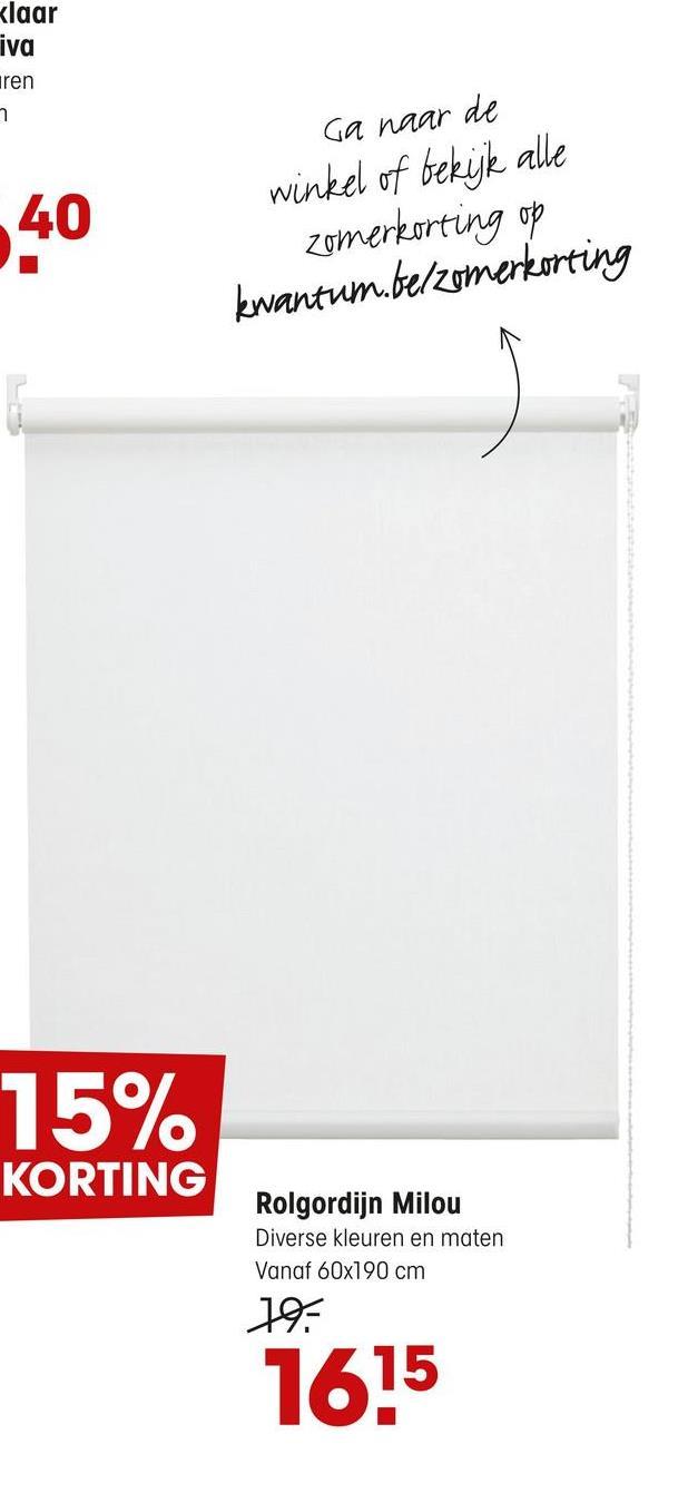 Rolgordijn Milou Wit Lichtdoorlatend met fijne weefstructuur en gefilterde lichtinval. Eenvoudig zelf te monteren en in te korten. Met vochtige doek reinigen. Bediening aan rechterzijde. Inhoud verpakking: schroeven, pluggen, montagesteunen, kindveiligheidsclip, montagehandle
