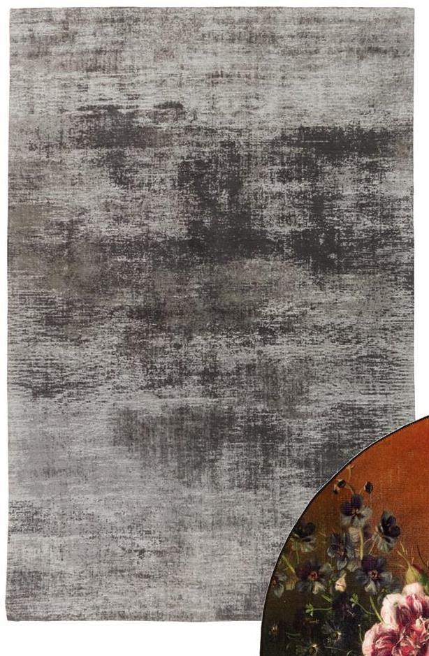 Vloerkleed Almond Grijs Handgemaakt vloerkleed grijs van katoen. Modern met verweerde look. 230x160 cm (lxb).