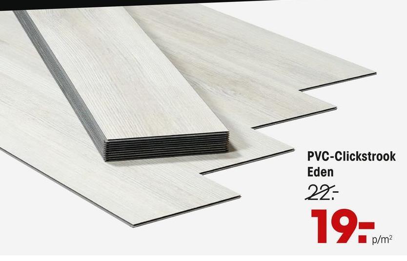 Pvc Click Strook Eden Wit PVC strook wit met houtlook. Geschikt voor normaal woongebruik. 3,2 mm dik. 2,6791 m2 per pak.