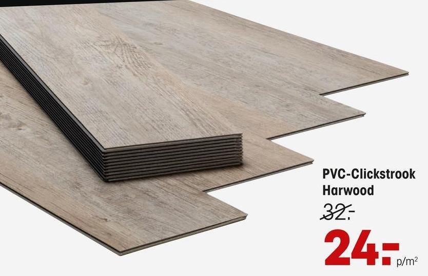 Pvc Click Strook Harwood Naturel Grijs Eiken Grijs eiken PVC Click Strook Harwood. Dikte 4,5 mm. Inhoud per pak ca. 1.76 m2.